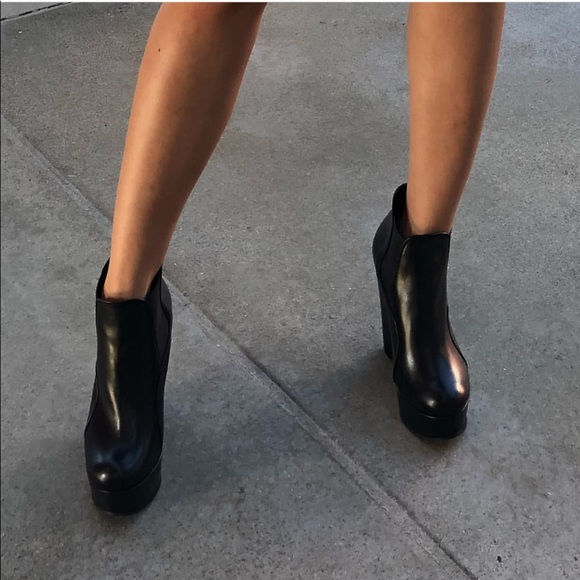 Shoes - Black leather wedge booties